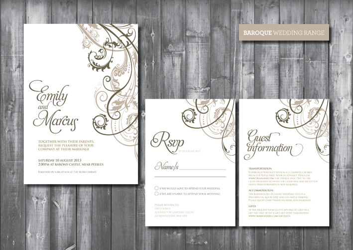 Baroque Wedding Invitations: Wedding Invitation Suite