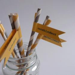 Wedding Favour Straws and Flags - Personalised x 50 - Yellow Silver Grey Wedding Favour