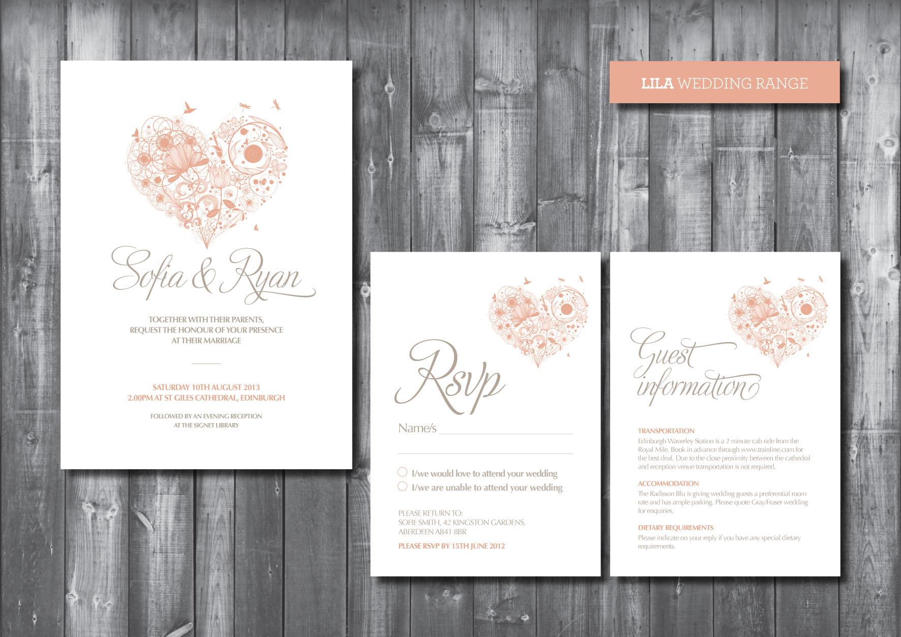 Wedding Invitation Suite - Digital Printable File - Lila Wedding ...