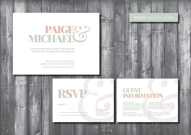 Wedding Invitation Suite - Digital Printable File - Vogue Wedding ...